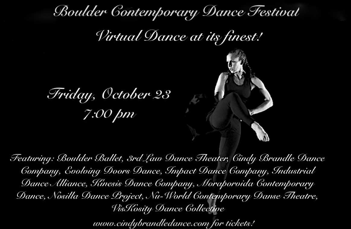 Friday, Oct 23rd, 7-9pm MST https://www.cindybrandledance.com/performances/cbdc-and-friends
